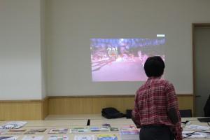 プロジェクターで、リオ五輪の動画なども流して、会場を盛り上げます。